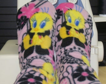 Fleece Socks Tweety Bird and Flowers Pink Yellow Black White  Premium Fabric