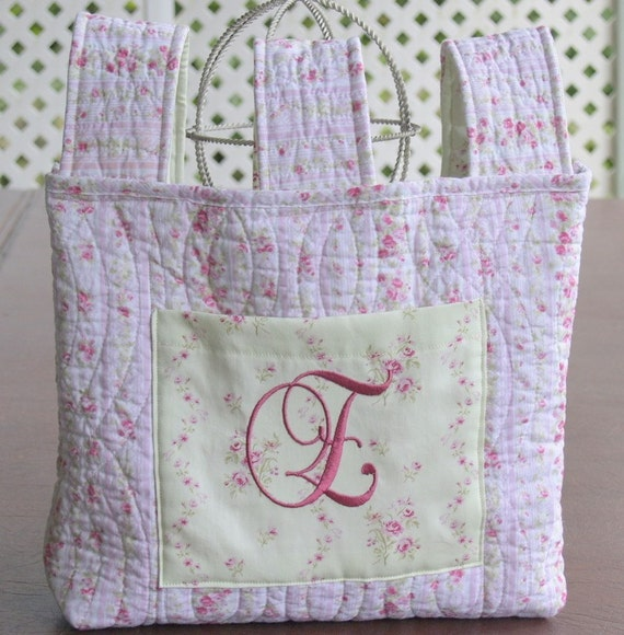 Quilted walker bag small rose embroidered