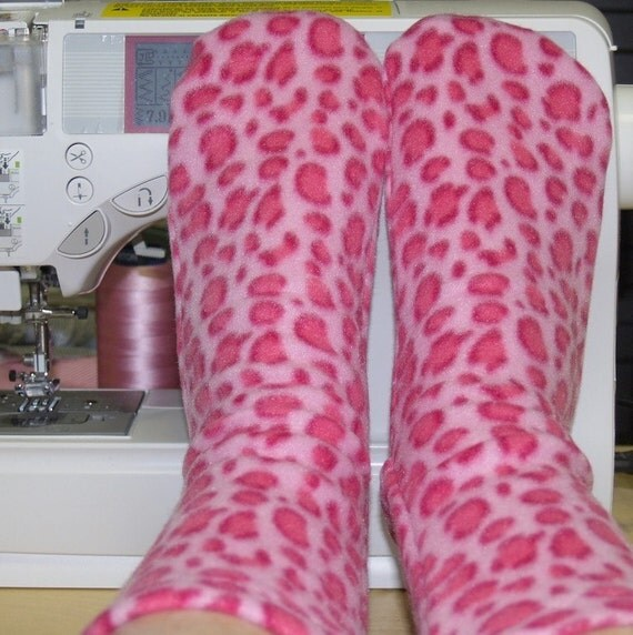 Fleece Socks  Pink Leopard Animal Print Women Toddler and Girl Sizes
