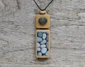 Necklace,nature,bamboo,Meditations pendant handmade,mixed media jewelry, beach stone