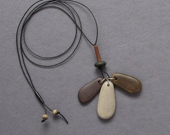 natural beach stone necklace