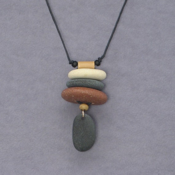 Beach Stone Necklace,nature jewelry, Personal Talisman, one of a kind