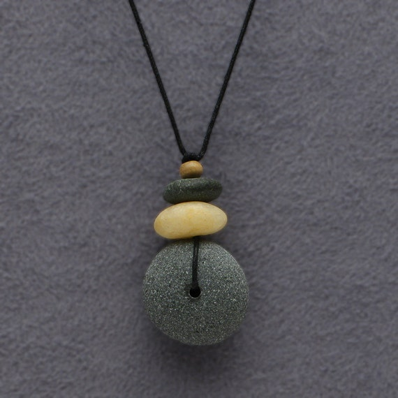 Beach stone necklace,2 beach stones, a personal talisman, natural