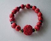 Red Flower Bracelet Carved Resin Focal Wood Beads