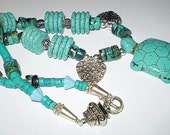 Turtle Turquoise Necklace with Carved Howlite Focal