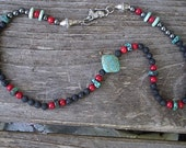 Earth Elements Necklace Lava Turquoise Howlite Coral Beads