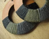 Large Natural Wood Hoop Earrings, Textile, Urban, Hip Hop, Streetwear, light, big, dark, colorblocked, waxed linen- ASHES AND DIAMONDS-