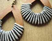 NYC -Concrete Jungle- New York City- Light Wooden Earrings Teardrop Wrapped in Black and White Irish Waxed LInen Fiber