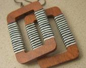 MONTAUK- Rustic Earrings, Textile, Wrapped, Waxed Linen, Navy and White, Stripes, Summer, Beach Boho, Geometric, Large Wood Earrings