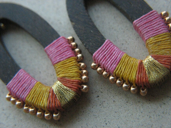 RESERVED solpower AGAVE NECTAR-Bright Ethnic Exotic Hot Pink Orange Yellow Gold Linen Wrapped Ebony Oval Wooden Earrings Gold Bead Accent