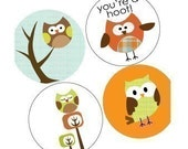 Owl Parade - Cute (1x1) One Inch Round Pendant Images - Digital Sheet - BUY 2 GET 1 FREE