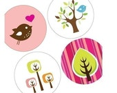 Digital sheet -Funky Trees And Birds - (1x1) One Inch Round Pendant Images - Buttons, Magnets, Glass Rounds - BUY 2 GET 1 FREE