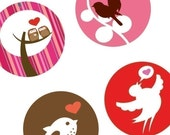 One (1x1) Inch Rounds - Cute Valentines Day Critters - Pendant Images -Glass Rounds - Digital Sheet - BUY 2 GET 1 FREE