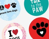 Dog Is Love  - One (1x1) Inch Round Pendant Images - Digital Sheet - PDF - Buy 2 Get 1 Free