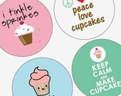 Witty Cupcake Designs - Large Rounds 2.25 inch images - Great For Pocket Mirrors and Buttons - Amazingly Cute - Digital Sheet