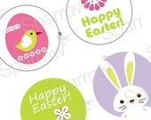 Exciting Cute Easter Images - Eggs Bunnies Birdies - Large Rounds - 2.25 Inch Images - Great For Pocket Mirrors- Digital Sheet