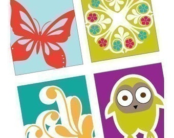 Urban Bliss - Funky Scrabble Tile Size Images - Digital Collage Sheet - BUY 2 GET 1 FREE