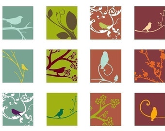 Retro Springtime  - 1 Inch or 25mm Square Images -Digital Sheet -Buy 2 Get 1 Free -Instant Download - Printable Digital Square Image Collage