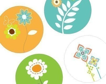 Modern Blooms - Large Round Images - 2.25 Inch (57mm) - Great for Pocket Mirrors,Coasters,Buttons,Magnets - Digital Sheet - Instant Download