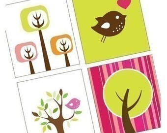 Funky Trees and Birds - (1x1) One Inch (25mm) Square Pendant Images - Digital Sheet -  Buy 2 get 1 Free - Instant Download - Printable Image