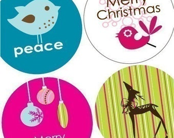 One (1x1) Inch Round Pendant Images - Peace and Joy - Christmas Digital sheet - BUY 2 get 1 FREE