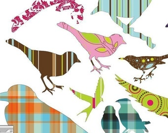 Bird Silhouettes Digital Collage Sheet - Funky Patterns - DIGITAL COLLAGE SHEET