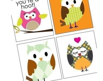 Owl Parade - Cute 7/8 Inch Tile Images - Pendant Images - Digital Sheet - BUY 2 GET 1 FREE