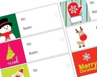Christmas Gift Tags -18 small size Gift tags and 16 larger square fold tags. Digital Sheet Collage - XMAS-SANTA-SNOWFLAKES-snowman