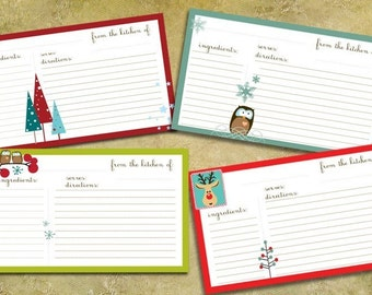 Adorable Christmas Recipe Cards - Printables - FOUR HANDMADE DESIGNS