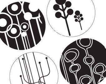 Black and White Elements - 1 Inch Round Collage Images - Digital Sheet - Pendant Images - Digital Download - Buy 2 Get 1 Free