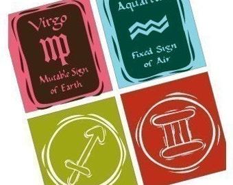 Zodiac Tiles - Scrabble Size Pendant Images - Digital Sheet - BUY 2 GET 1 FREE