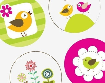 Trendy Flowers and Birds  - Large Round Images - 2.25 Inch (57mm) - Great for Pocket Mirrors,Coasters,Buttons,Magnets - Instant Download