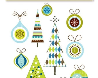 Modern Christmas Designs-Xmas Trees and Ornaments-Digital clip art-PNG files-Perfect for invitations, cards, notices, scrapbooking and more