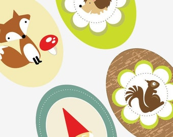 Woodland Creatures -30x40 mm Oval Digital Collage Sheet - For use with cabochon settings and glass tiles  - Buy 2 Get 1 Free