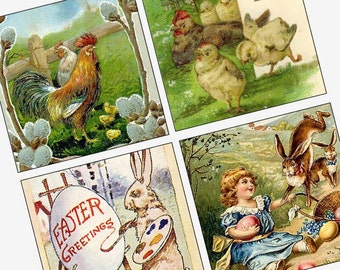 Victorian and Vintage Easter Images - (1x1) One Inch Square Images - Buy 2 Get 1 Free - Instant Download - Printable Digital Image Collage