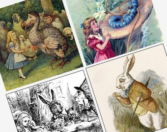 Vintage Alice In Wonderland Images - (1x1) One Inch (25mm) Pendant Images - Printable Digital Sheet - Buy 2 Get 1 Free - Digital Download