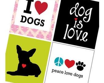 Scrabble Size Pendant Images - Dog Is Love  - Digital Sheet - PDF - Buy 2 Get 1 Free