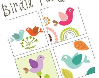 Birdie Party -  (1x1) One Inch Pendant Images - Digital Sheet - Buy 2 Get 1 Free