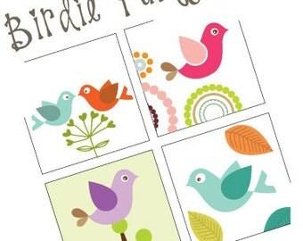 Birdie Party -  Scrabble Size Pendant Images - Digital Sheet - Buy 2 Get 1 Free