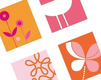 Funked Elements - Orange and Pinks - (1x1) One Inch (25mm) Pendant Images - Buy 2 Get 1 Free - Instant Download - Printable Square Images