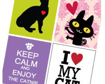 Cat Love  - (1x1) One Inch (25mm) Pendant Images -Digital Sheet -Buy 2 Get 1 Free -Instant Download - Printable Digital Square Image Collage