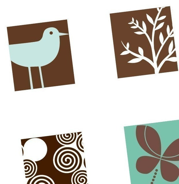 Funked Elements - Aqua Brown - Scrabble Size Tile Images - BUY 2 GET 1 FREE