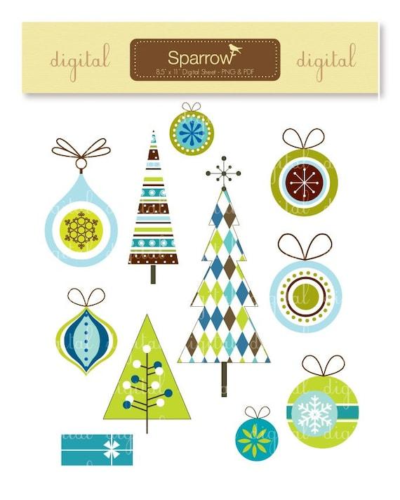 Modern Christmas Designs-Xmas Trees and Ornaments-Digital ...