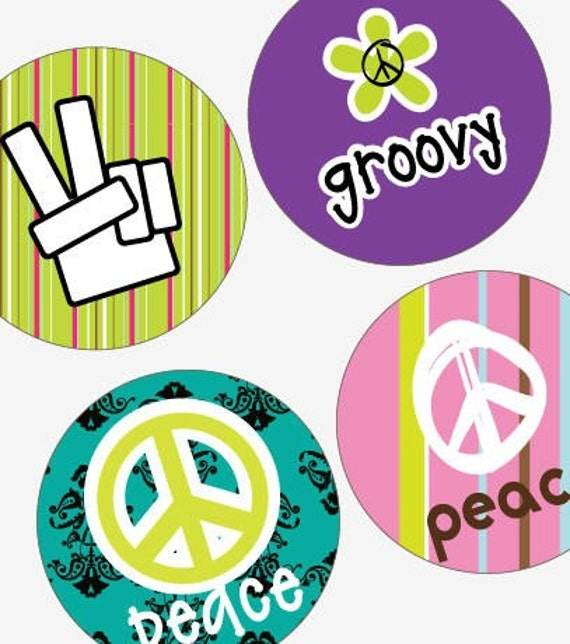 Groovy Peace Signs - (1x1) One Inch Round Pendant Images - BUY 2 GET 1 FREE