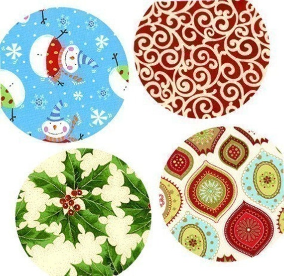 Digital Collage Sheet - One (1x1) Inch Pendant Images - Contemporary Christmas Patterns - Magnets, Buttons, Stickers - BUY 2 GET 1 FREE