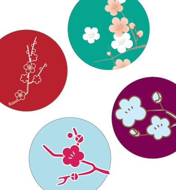 Gorgeous Japanese Blossoms - (1x1) One inch Round pendant images - Printable Digital Collage Sheet - Buy 2 Get 1 Free