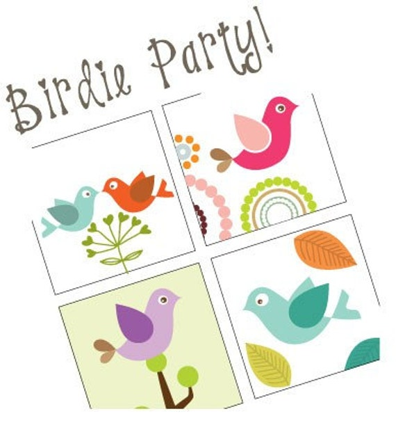 Birdie Party -  Scrabble Size Pendant Images - Digital Sheet - Buy 2 Get 1 Free