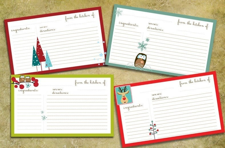 Displaying (19) Gallery Images For Holiday Recipe Card...