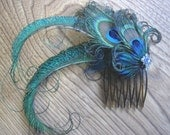 Wedding Party Prom Hair Comb with Swarovski Crystals and Peacock Feathers