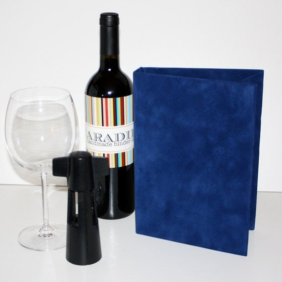 Navy Faux Suede Wine Journal ... also available in Black, Brown and Tangarine